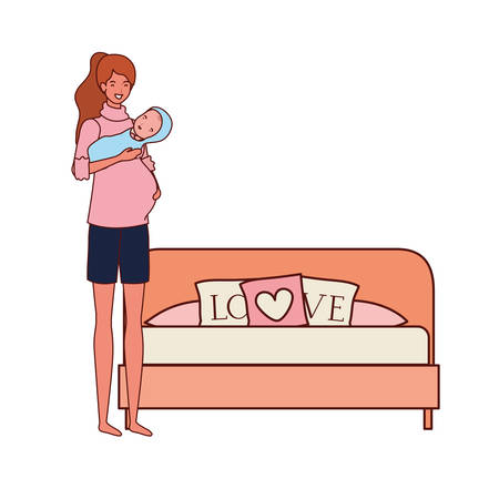 cute pregnancy mother with little boy in the bedroom vector illustration design
