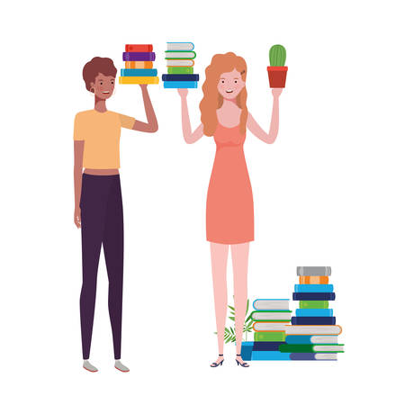 women standing with stack of books on white background vector illustration design Çizim
