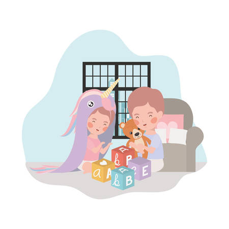 cute little kids babies in livingroom with toys characters vector illustration design Çizim