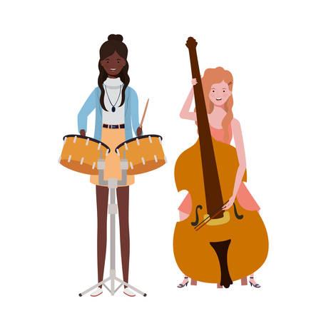 women with musicals instruments on white background vector illustration design Stock Illustratie