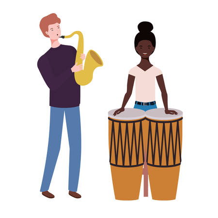 Couple of people with musicals instruments on white