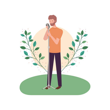 man with microphone and branches and leaves in the background vector illustration design Ilustracja