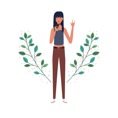 woman with microphone and branches and leaves in the background vector illustration design