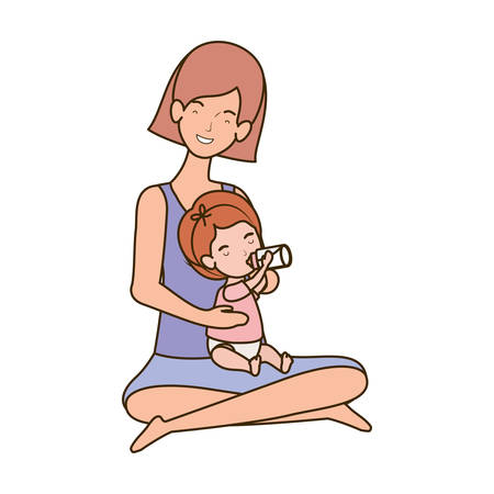 cute pregnancy mother seated with little girl characters vector illustration design Banco de Imagens - 130766620