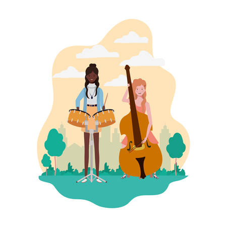women with musical instruments and background landscape vector illustration design Stock Illustratie