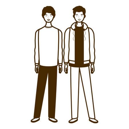 silhouette of men standing on white background vector illustration design Illustration