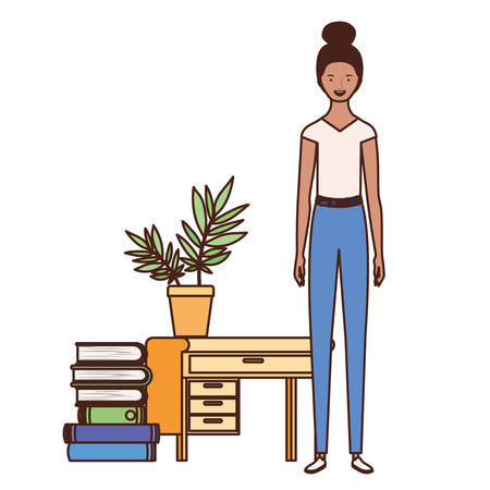woman standing with bookshelf of wooden and books vector illustration design