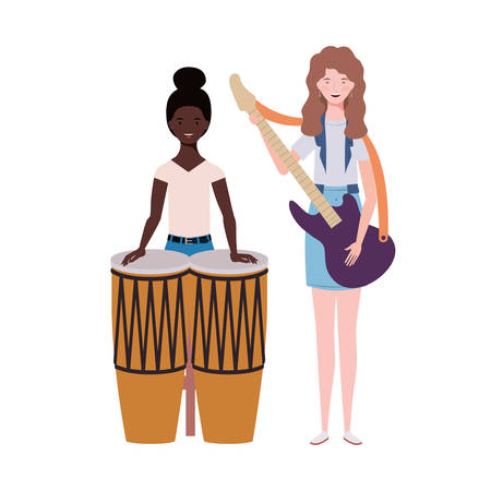 Women with musicals instruments on white