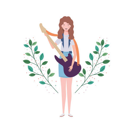 woman with electric guitar and branches and leaves in the background vector illustration design Stock Illustratie