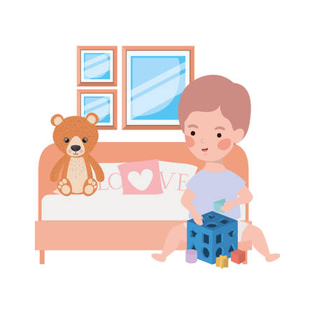 Cute little boy baby with bear teddy in bedroom Banque d'images - 130953517