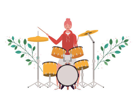 Woman with drum kit and branches and leaves in the