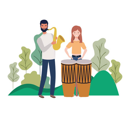 Couple of people with musicals instruments Ilustração