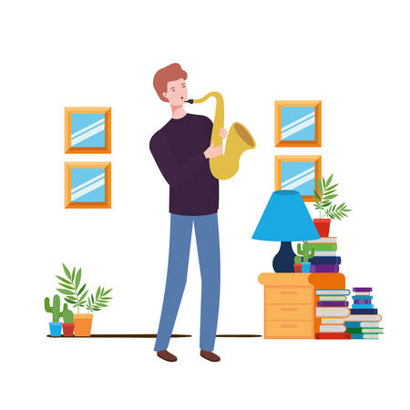 Young man with saxophone in living room