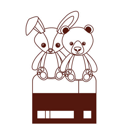 cute bear and rabbit stuffed baby toys in chair vector illustration design