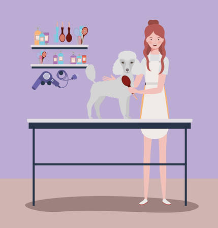cute poodle dog care salon with girl vector illustration design Stock Illustratie