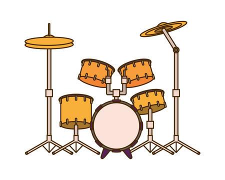 Drum kit musical instrument on white