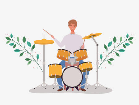 man playing battery drums character vector illustration design