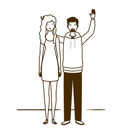 silhouette of couple of people standing on white background vector illustration design Archivio Fotografico - 130781824