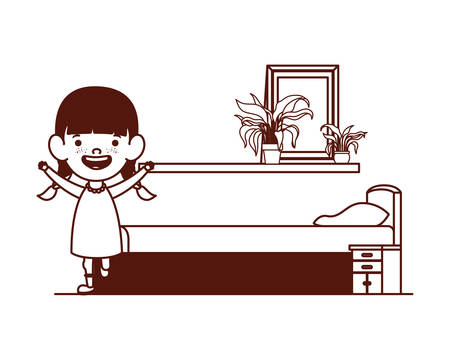 cute little girl baby in the bedroom character vector illustration design 版權商用圖片 - 130790204