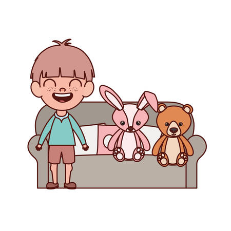 cute little boy baby in the living room with stuffed toys vector illustration design Ilustração