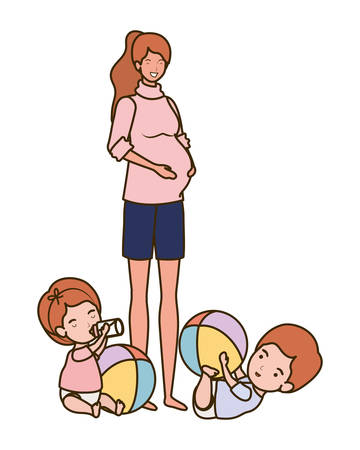 cute pregnancy mother with little kids characters vector illustration design Illustration