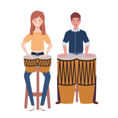 couple of people with musicals instruments on white background vector illustration design