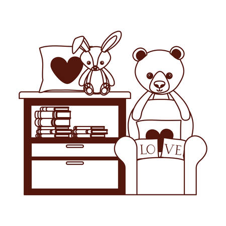 cute bear and rabbit stuffed baby toys in livingroom vector illustration design Banque d'images - 130801313