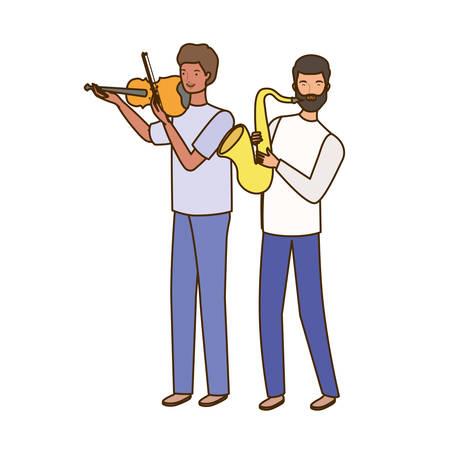 men with musicals instruments on white background vector illustration design Stock Illustratie