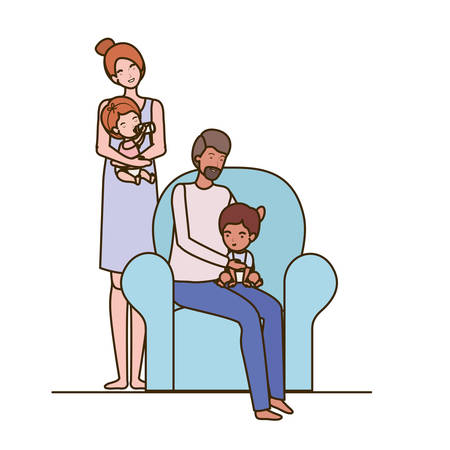 parents couple with little babies in the sofa characters vector illustration design Illustration