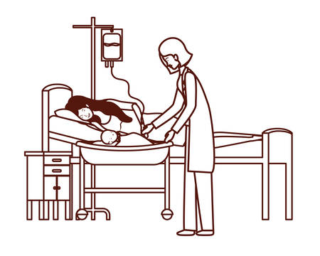 mother and doctor with newborn baby in stretcher vector illustration design Illustration