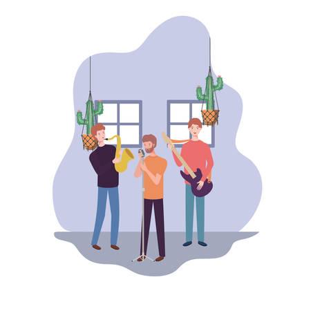 men with musicals instruments in living room vector illustration design Illustration