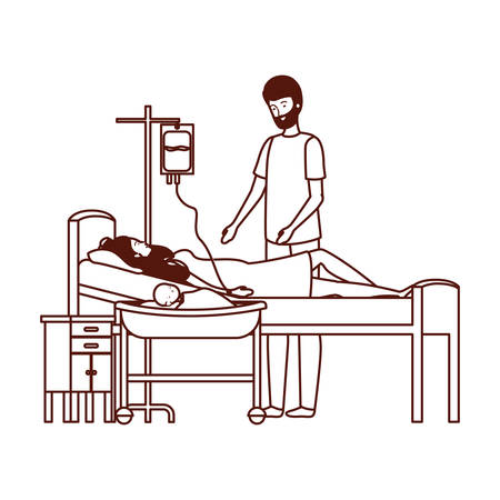 Mother and father with newborn baby in stretcher Stock Illustratie