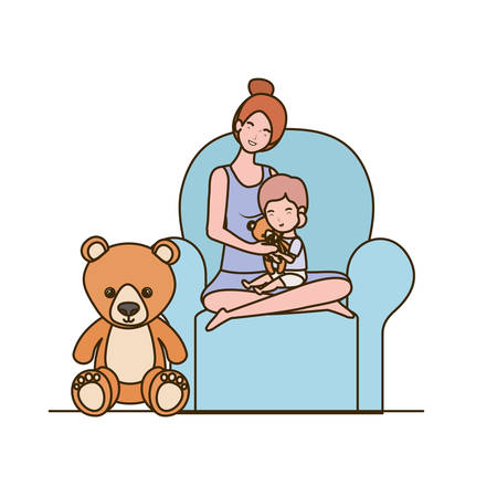 cute pregnancy mother with little boy seated in sofa vector illustration design
