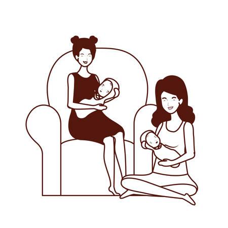 cute pregnancy mothers with little babies in livingroom vector illustration design Çizim