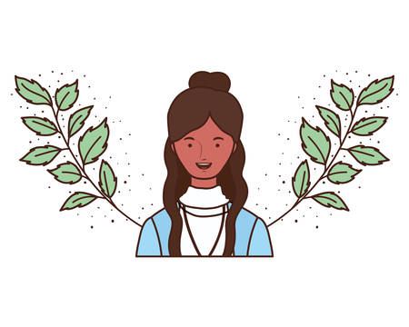 young woman with branches and leaves background vector illustration design