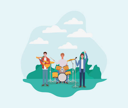 group of men playing instruments in the camp vector illustration design Illustration