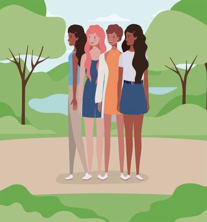 young interracial girls group in the field vector illustration design