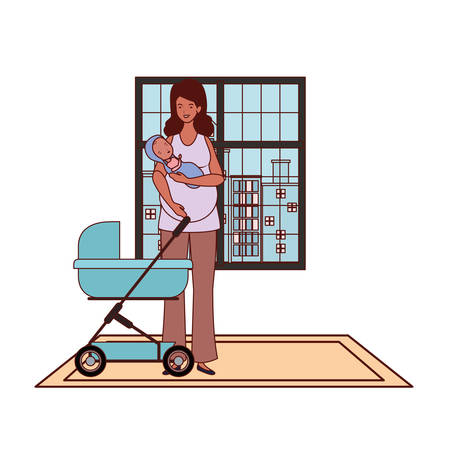 afro pregnancy mother with little baby in cart vector illustration design Illustration