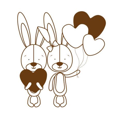 silhouette of cute bunny with helium balloons vector illustration design Ilustração