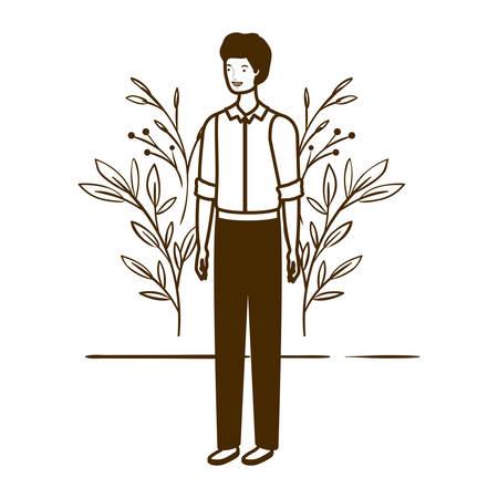 silhouette of man standing with landscape background vector illustration design Illustration
