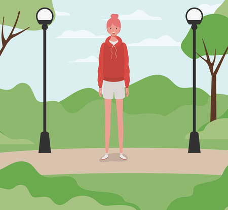 young and beautiful girl in the park vector illustration design