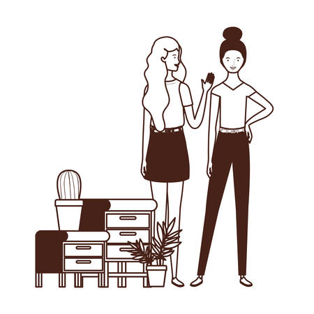 silhouette of women with bookshelf of wooden and books vector illustration design  イラスト・ベクター素材
