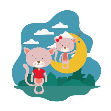 cute cats sitting in the moon vector illustration design Standard-Bild - 130811165
