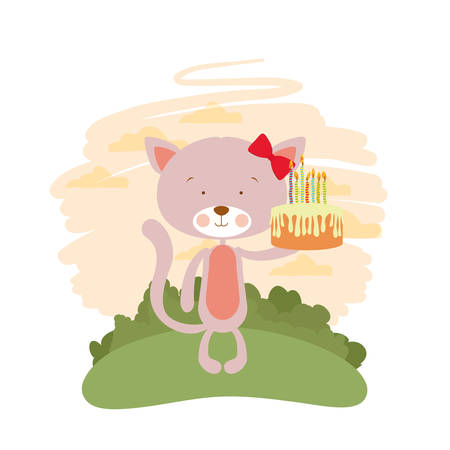 cute cat with cake in hand vector illustration design