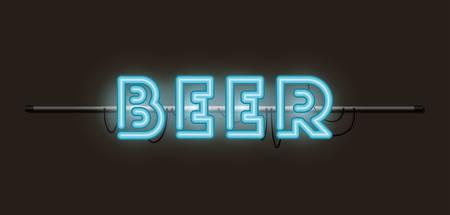 beer fonts neon lights vector illustration design