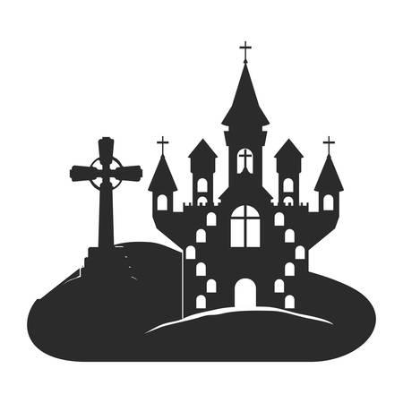 halloween celebration with castle in cemetery scene vector illustration design Vector Illustratie