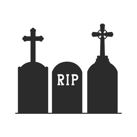 graveyard tombstone on white background vector illustration design