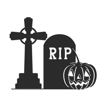 halloween celebration with pumpkin in cemetery scene vector illustration design Vector Illustratie