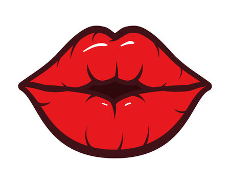 sexy woman mouth pop art style vector illustration design Illustration