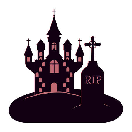 halloween dark castle in cemetery scene icon vector illustration design